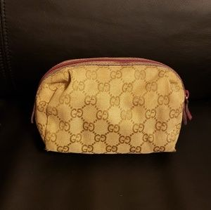 Authentic Gucci Cosmetic Pouch Purse Beige Pink